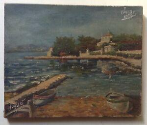 Tableau-ancien-Impressionniste-Marine-Juan-les-Pins-Huile-Toile-signe-Date-1920