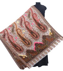 Brown-Beige-Ari-Embriodery-100-Wool-Hand-Cut-Kani-Shawl-Jamavar-India-Pashmina