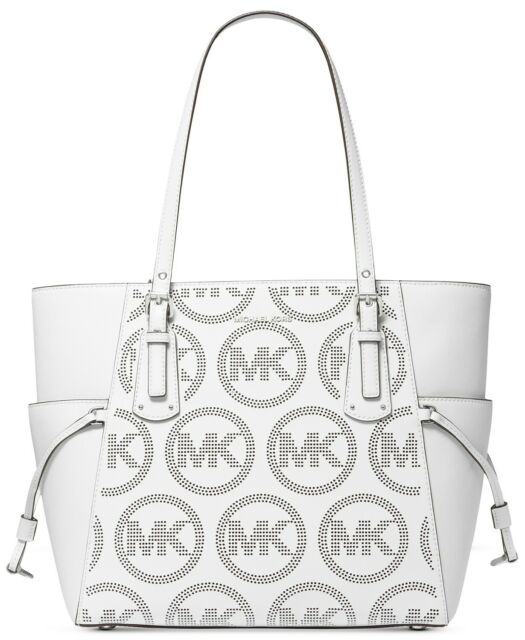 NWT MICHAEL MICHAEL KORS VOYAGER PERFORATED LOGO LEATHER TOTE OPTIC WHITE