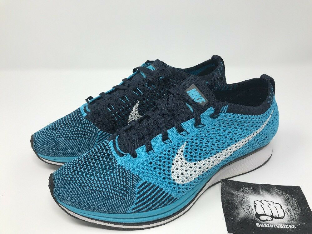 Nike flyknit racer blu / bianco nero ossidiana cloro 526628-414 Uomo = w10