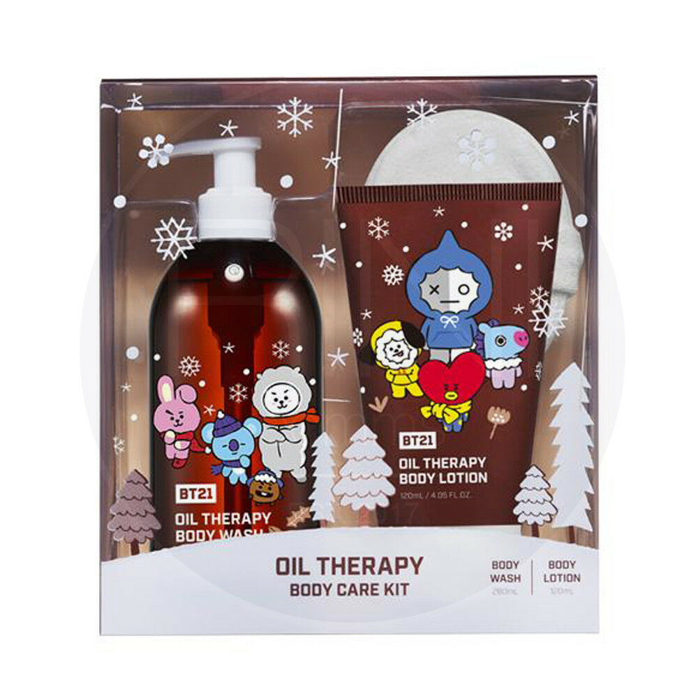 BTS BT21 Official Oil Therapy Body Care Kit Body Wash+Body Lotion+Sponge