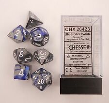 Polyhedral 7 Die Gemini Chessex Dice Set Blue Steel With White CHX 26423