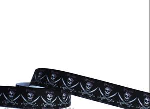 1 m Ripsband Pirat  gothic Webband Farbenmix Applikation Roos