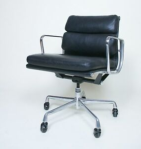 Eames Herman Miller Soft Pad Aluminum Group Chair Black Leather Mint Sets Ava