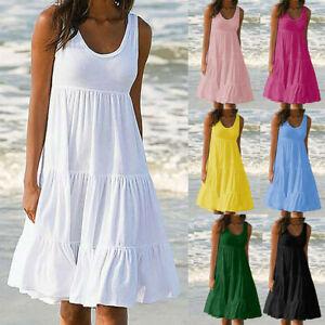Women-Holiday-Summer-Solid-Sleeveless-Party-Beach-Loose-Short-Dress-Sundress-ZC