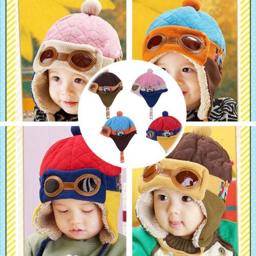 Baby Kinder Jungen Mädchen Winter warme Mütze Pilot Aviator Bonnet Cap Earflaps