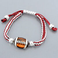 Burgundy White Friendship Style Adjustable Bracelet Silver Ember Football Charm