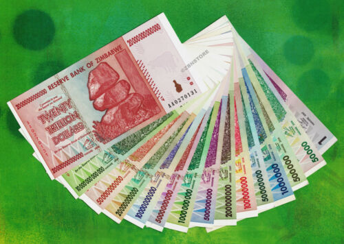 1 to 20 Trillion Zimbabwe Dollars Set of 15 Banknotes Almost Uncirculated ~ aUNC