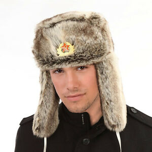 Mens-Ladies-Faux-Fur-Trapper-Hat-Warm-Winter-Russian-Badge-Lined-Hunter-NEW-RB
