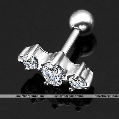 1pc 16G Czech Gem Crystal Steel Tragus Cartilage Helix Bar Ear Ring Piercing