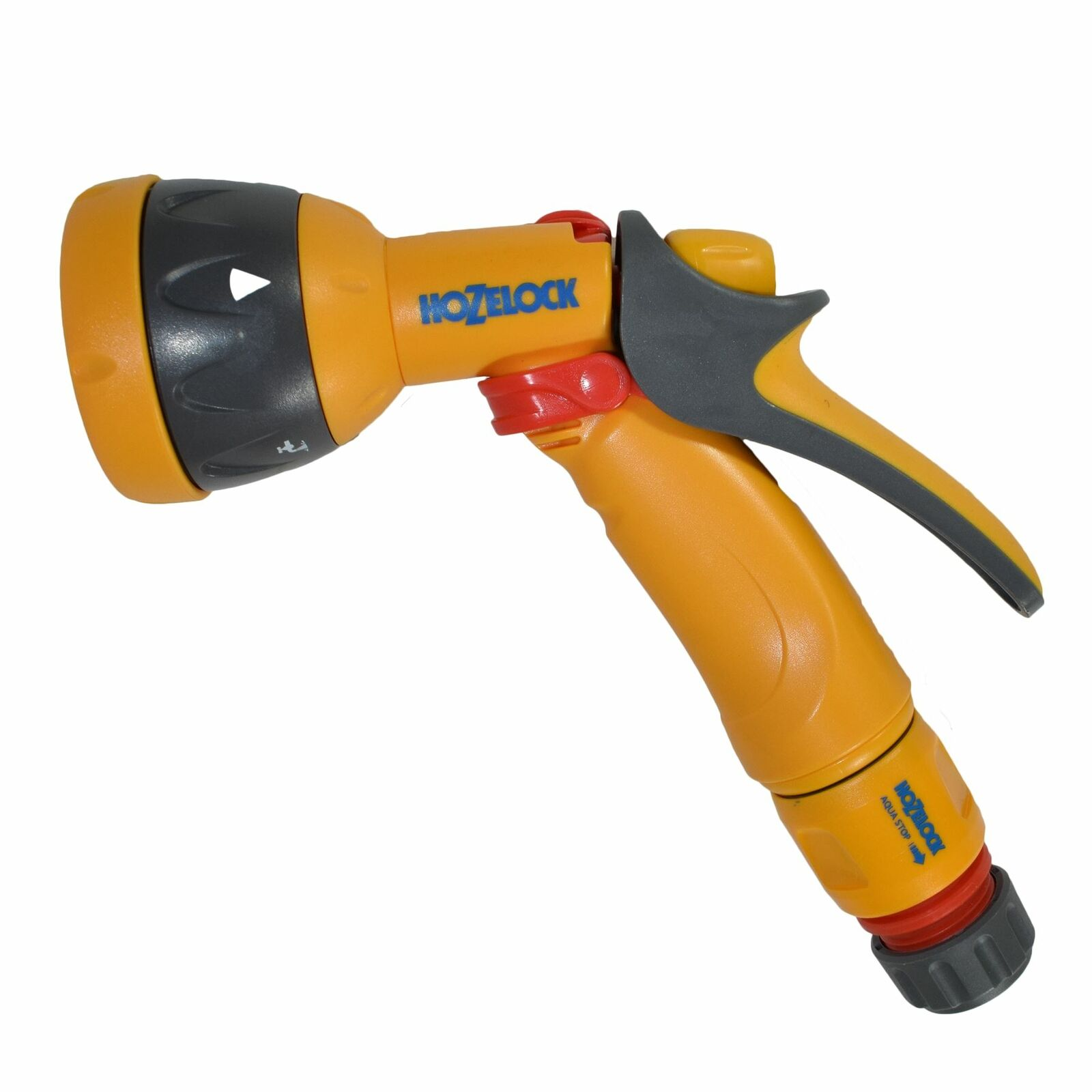 Hozelock Spray Nozzle Garden Hose Pipe Water Gun 5 Function & Aqua Stop Fitting