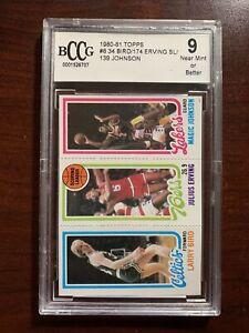 1980 Topps Basketball Larry Bird Magic Johnson Rookie Card Beckett Graded BCCG 9