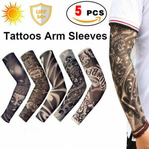5pcs-Tattoo-Cooling-Arm-Sleeves-Basketball-Sports-UV-Sun-Protection-Men-Outdoor