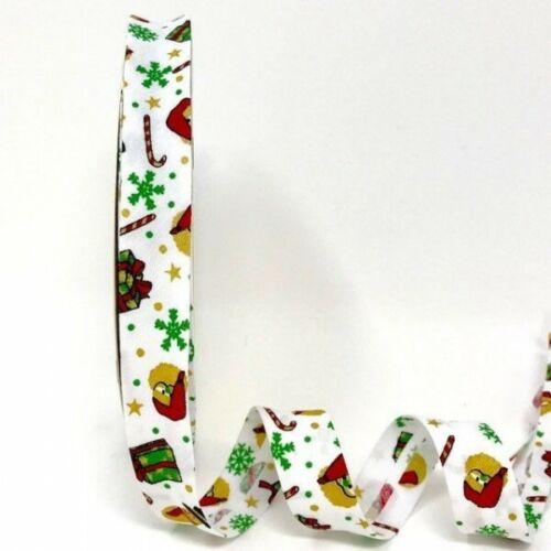 Byetsa 1 Metre 30mm or 18mm  Christmas Folded Bias Binding Xmas Candy Canes