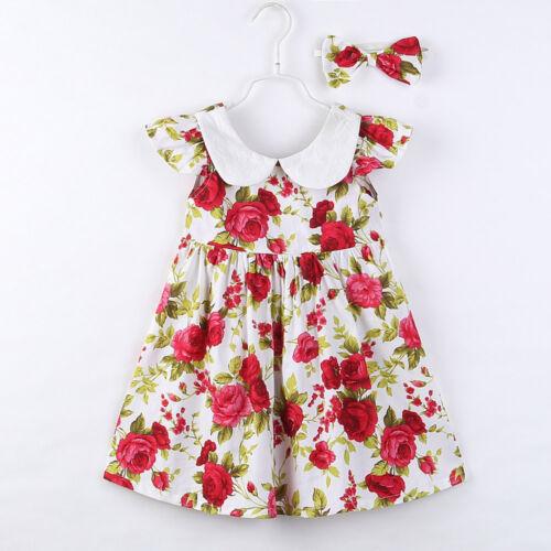 Toddler Girl Princess Tutu Dress Floral Casual Party Ball Dress+Headband Set CC