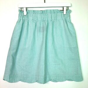 Lauren james seersucker skirt scalloped hem green white size medium