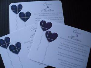 Wedding Invitations Scottish Tartan Print Pack Of 10 Tartan Love
