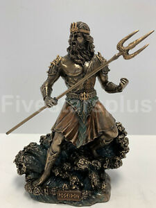 Details About Standing Poseidon Holding Trident Statue Sculpture Figurine Greek God Of The Sea