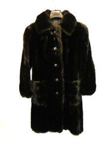 Vintage-S-M-Dark-Brown-Faux-Fur-Coat-Knee-Length-Plush-Grandella-Sportowne-70s
