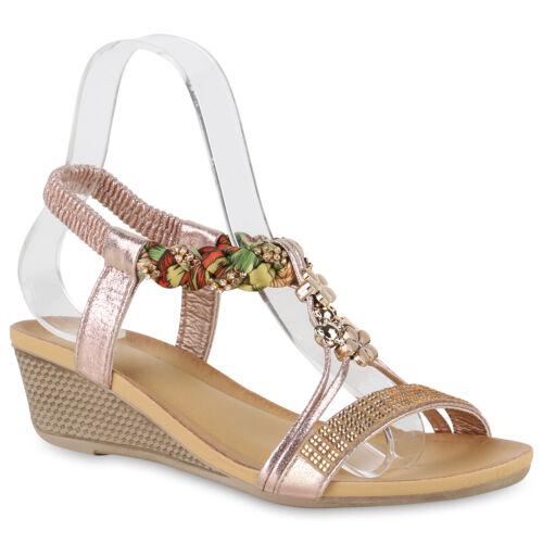 Damen Sandaletten Keilsandaletten Ethno Keilabsatz Strass 826224 Schuhe