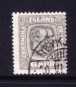 ICELAND 1918 6a sepia & grey p14x141/2 - fine used off-centre SG113. Cat £120