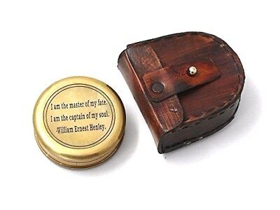 E E Cummings Complete I Carry Your Heart Poem Brass Compass With Wood Case