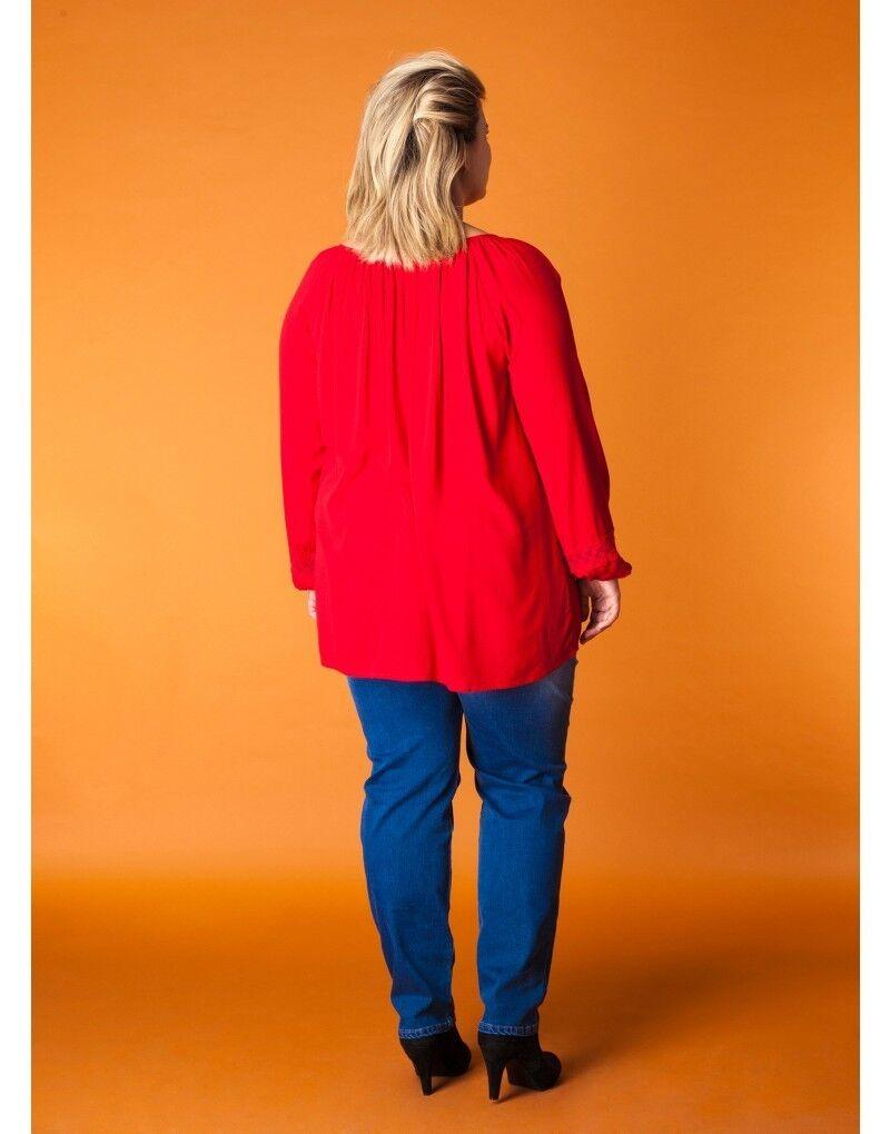 X-two Tunika Blause Shirt Shirt Shirt Langarm Spitze Schnürung V-Ausschnitt für Damen in Rot   Qualität Produkte    Billig  07bfa8