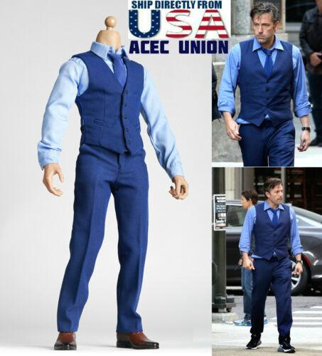1//6 Batman Ben Affleck Gentleman Blue Fashion Suit Set For Hot Toys Batman USA