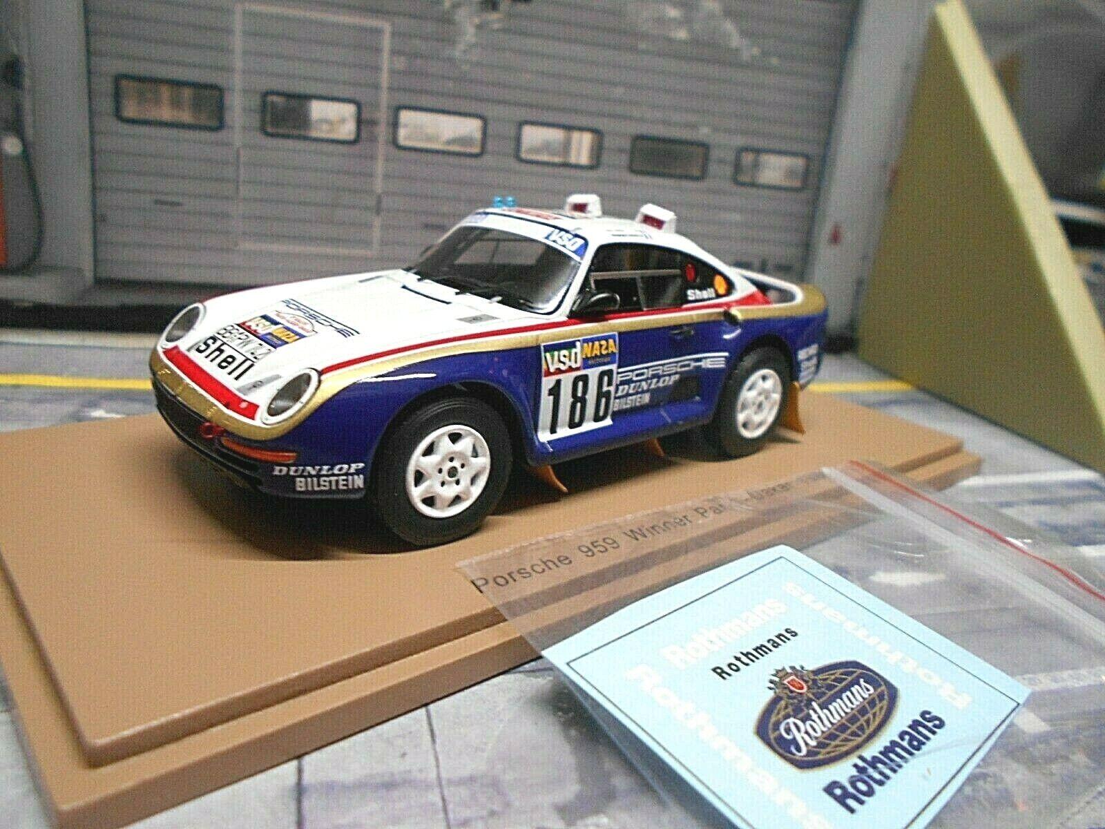 Porsche 911 959 4x4 raid dakar 1986 Metge rossohm a winner Spark resin 1 43