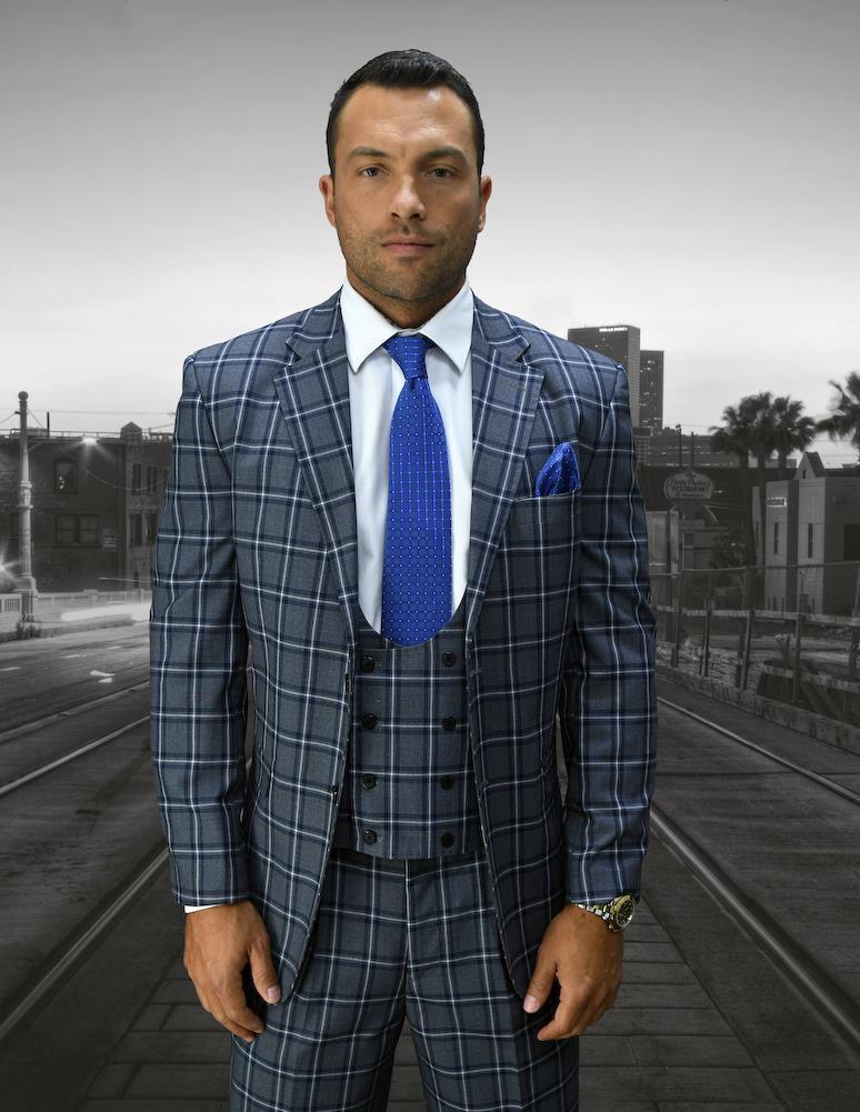 New Statement  3 PC Ancona grau 2 Button Window Pane Fashion Suit