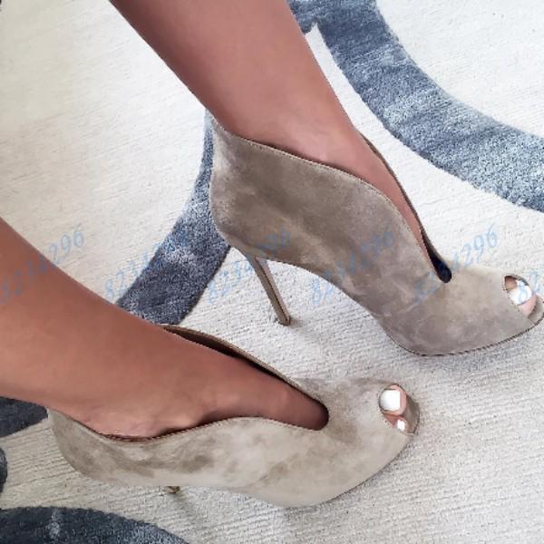 Retro Peep Toe Damen High Heels Stiletto Pumps Schuhe 8 Volltonfarbe Partyschuhe
