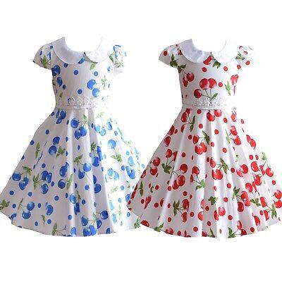 SIZE 0 TO 10 BNWT GIRLS COTTON CHERRY DRESS