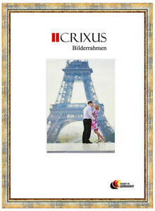 CRIXUS40-Real-Wood-Picture-Frame-Antique-Pastel-Blue-Gold-Baroque-Frame-B-25-453