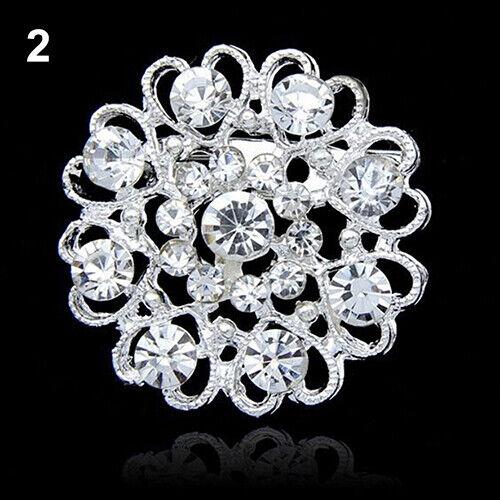 Luxury Rhinestone Crystal Brooch Hollow Collar Pin Silver Plated Flower Jewelry