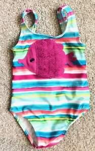 Gymboree-EUC-Infant-Girls-Sparkle-Fish-Striped-Bright-Swim-Suit-sz-18-24m