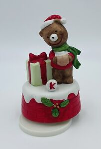 Christmas Holiday Bear Music Box Fine Porcelain Gifts By BRINNS Rotating Figure