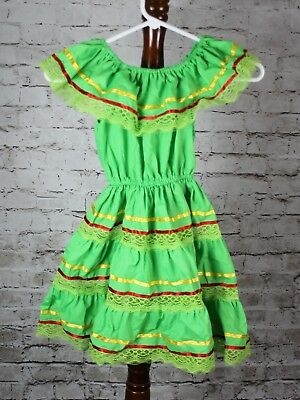 LIME GREEN GIRLS GYPSY PEASANT MEXICAN LACE DRESS CINCO DE MAYO FIESTA
