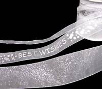 9 Yards SALE Matching Wedding Sparkly Silver White Best Wishes Sheer Ribbon
