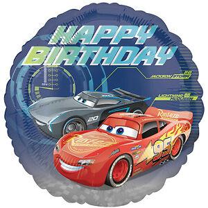 Disney Cars 3 Mcqueen Storm Happy Birthday 18 Round Foil Helium