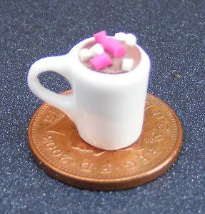 Échelle 1:12 S Blanc Tasse de chocolat chaud maison de poupées miniature w63a boisson  </span>