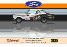 Greetings card QSP Ford Escort RS 1800 MK2 #22 van Haren Derks Version 3
