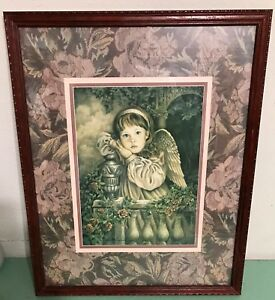 Homco Home Interiors Angel Unaware Picture Donna Richardson Artist 21 5 X 17 5 Ebay