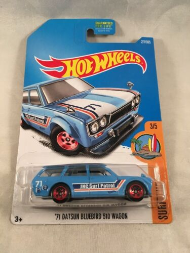 Hot Wheels 1971 '71 Datsun Bluebird 510 Wagon Surfs Up Patrol Blue r3toystore