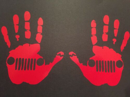 JEEP WAVE HAND SET ****** REFLECTIVE RED VINYL ****** STICKER DECAL