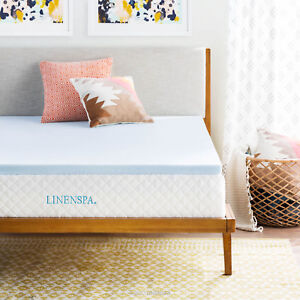 LINENSPA 2 Inch Gel Infused Memory Foam Mattress Topper Twin Full Queen King