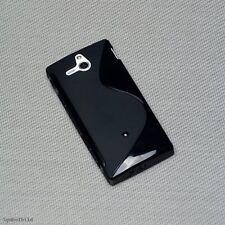 Rubber silicona TPU, móvil Cover negro para Sony Xperia U + protector de pantalla