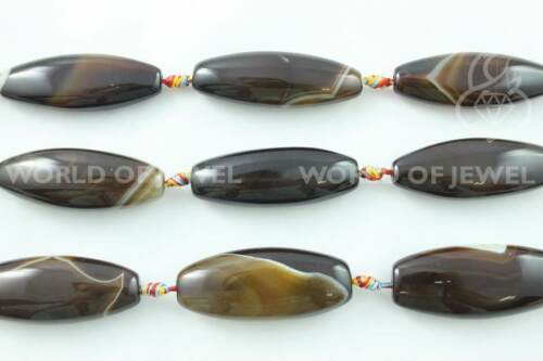 Agata Brasiliana Striata Ovale Piatto 18x45mm Agata Marrone Filo Pietre Dure Sem