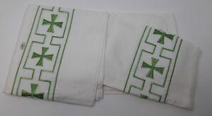 Vintage-Alba-Irlandes-Lino-Verde-Cruz-Banda-con-Gores-Encaje-21-3ms-S-ALB-B-22