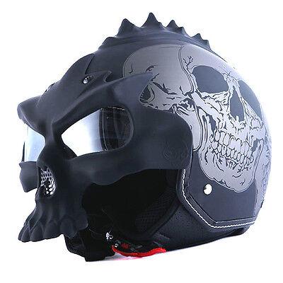 1STorm DOT Motorcycle Bike Open Face Helmet Novelty Half 3D Skull Gray Black