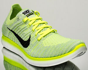 1df2f71ce1e0 Nike Free RN Flyknit men running run shoes NEW pure platinum volt ...